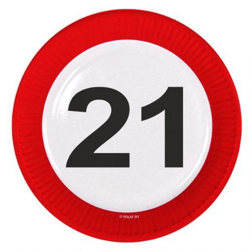Traffic Sign 21st Party Plates 23cm 8's Birthday Tableware Table Disposable
